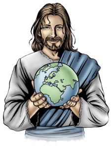 Jesus holding the world in His hands